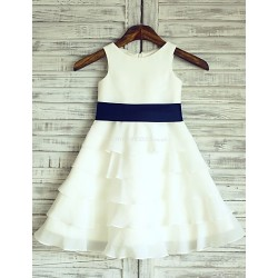 A-line Ivory Cupcake Knee-length Flower Girl Dress - Chiffon Sleeveless