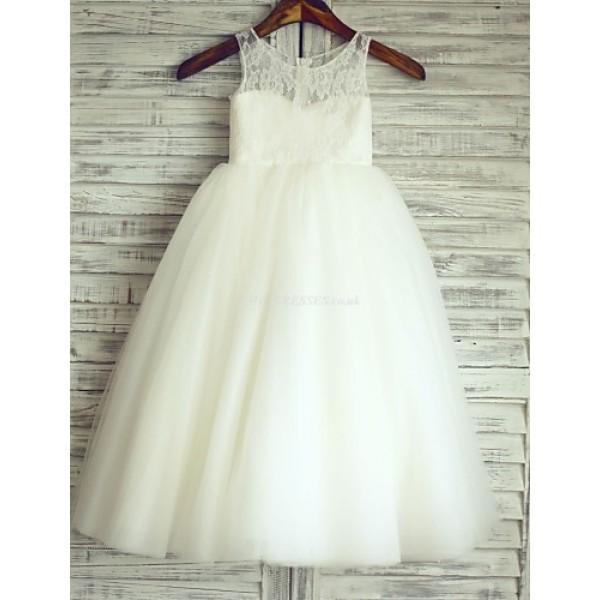 Princess Ivory Floor-length Flower Girl Dress - Lace/Tulle Sleeveless Flower Girl Dresses