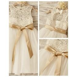 Princess Knee Length Flower Girl Dress Lace Tulle Sleeveless