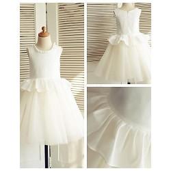 A-line Knee-length Flower Girl Dress - Cotton / Tulle Sleeveless