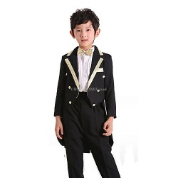 Black Polester Cotton Blend Ring Bearer Suit 4 Pieces