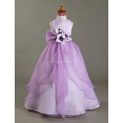 A Line Princess Ball Gown Floor Length Flower Girl Dress Satin Organza Sleeveless