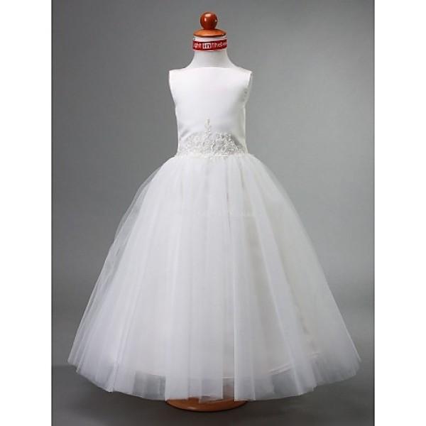A-line/Ball Gown/Princess Floor-length Flower Girl Dress - Satin/Tulle Sleeveless Flower Girl Dresses