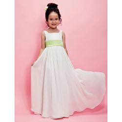 A Line Princess Floor Length Flower Girl Dress Chiffon Sleeveless