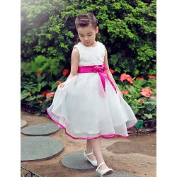 Formal Evening / Wedding Party Dress - Ivory A-line Jewel Knee-length Organza / Satin