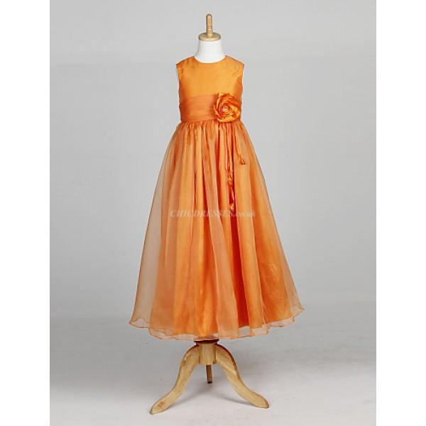 A-line/Ball Gown/Princess Ankle-length Flower Girl Dress - Organza Sleeveless Flower Girl Dresses
