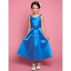 A-line Ankle-length Flower Girl Dress - Satin Sleeveless