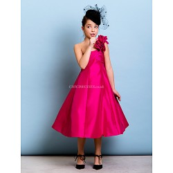 Tea Length Taffeta Junior Bridesmaid Dress Fuchsia A Line Princess One Shoulder