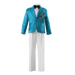 Blue Polyester Ring Bearer Suit 3 Pieces