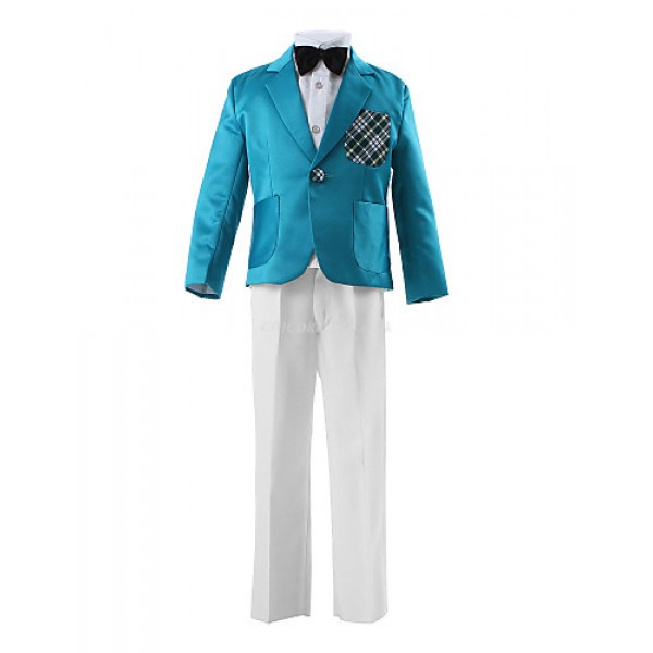 Blue Polyester Ring Bearer Suit - 3 Pieces Flower Girl Dresses