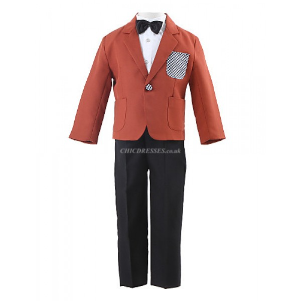 Blue Polyester Ring Bearer Suit - 4 Pieces Flower Girl Dresses