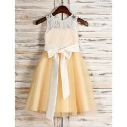 A Line Tea Length Flower Girl Dress Tulle Sequined Sleeveless