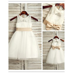 Flower Girl Dress Tea Length Lace Tulle A Line Sleeveless Dress