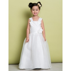 A-line Floor-length Flower Girl Dress - Organza Sleeveless