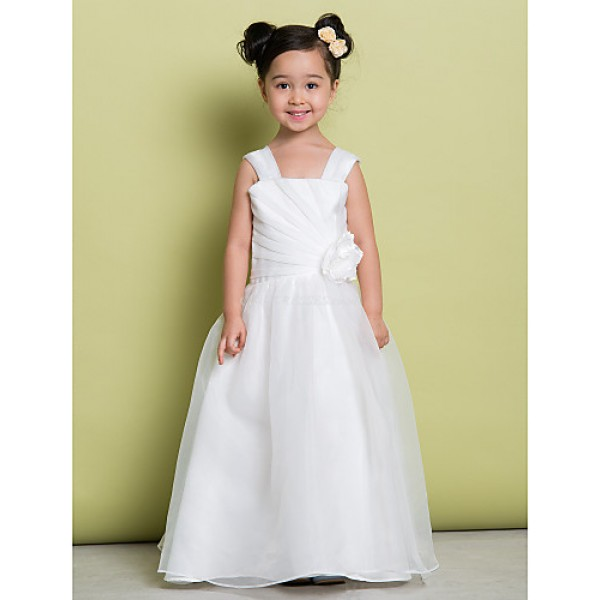 A-line Floor-length Flower Girl Dress - Organza Sleeveless Flower Girl Dresses