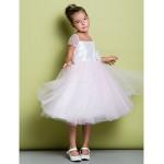 A-line Knee-length Flower Girl Dress - Taffeta / Tulle Short Sleeve Flower Girl Dresses