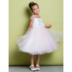 A-line Knee-length Flower Girl Dress - Taffeta / Tulle Short Sleeve