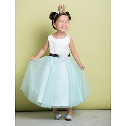 A-line Ankle-length Flower Girl Dress - Satin/Tulle Sleeveless