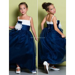 A Line Ankle Length Flower Girl Dress Organza Sleeveless