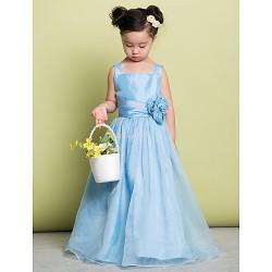 A Line Floor Length Flower Girl Dress Organza Sleeveless