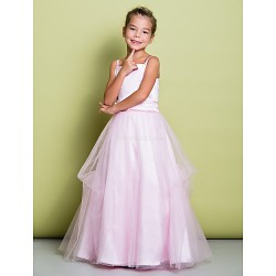 A Line Floor Length Flower Girl Dress Satin Tulle Sleeveless