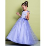 A-line Floor-length Flower Girl Dress - Satin / Tulle Sleeveless Flower Girl Dresses