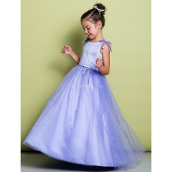 A-line Floor-length Flower Girl Dress - Satin / Tulle Sleeveless