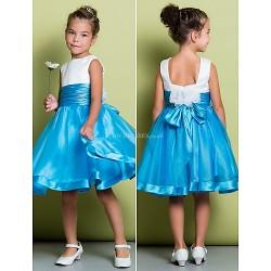 A Line Knee Length Flower Girl Dress Organza Satin Sleeveless