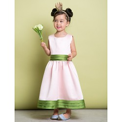 A Line Ankle Length Flower Girl Dress Satin Sleeveless