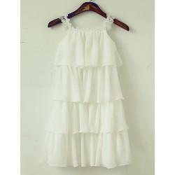 Sheath/Column Knee-length Flower Girl Dress - Chiffon/Lace Sleeveless