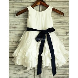 A-line Ivory Knee-length Ruffles Flower Girl Dress - Taffeta Sleeveless