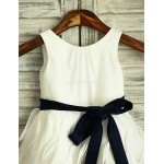 A-line Ivory Knee-length Ruffles Flower Girl Dress - Taffeta Sleeveless Flower Girl Dresses
