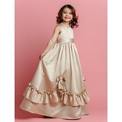 A-line Floor-length Flower Girl Dress - Satin Sleeveless