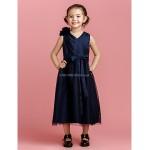 A-line Tea-length Flower Girl Dress - Taffeta/Tulle Sleeveless Flower Girl Dresses