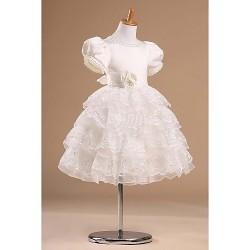 Flower Girl Dress Knee-length Satin/Tulle Princess Short Sleeve Dress