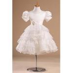 Flower Girl Dress Knee-length Satin/Tulle Princess Short Sleeve Dress Flower Girl Dresses