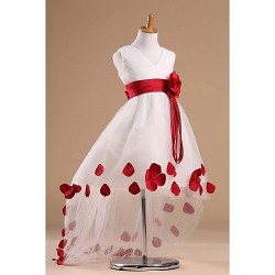 Flower Girl Dress Chapel Train Satin Tulle Princess Sleeveless Dress