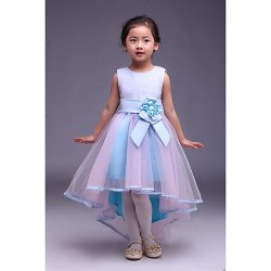 A Line Asymmetrical Flower Girl Dress Satin Tulle Sleeveless