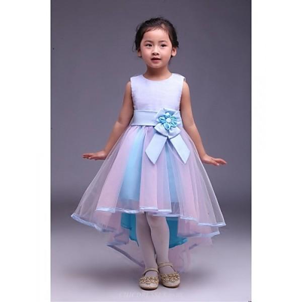 A-line Asymmetrical Flower Girl Dress - Satin/Tulle Sleeveless Flower Girl Dresses