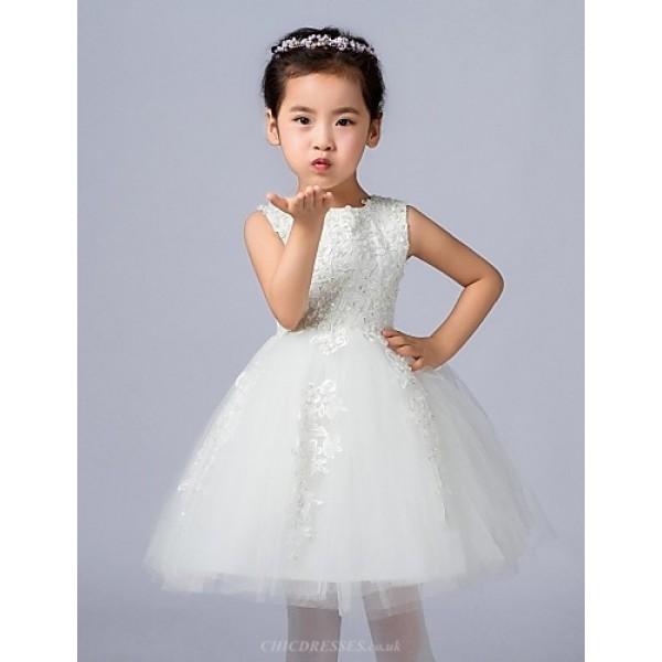 Ball Gown Knee-length Flower Girl Dress - Satin/Tulle Sleeveless Flower Girl Dresses
