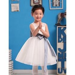 Ball Gown Knee-length Flower Girl Dress - Satin/Tulle Sleeveless