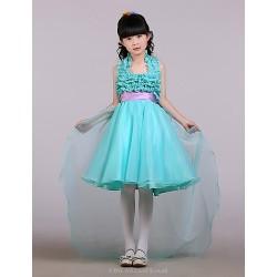 Ball Gown Asymmetrical Flower Girl Dress Satin Tulle Sleeveless