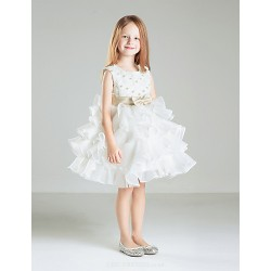 Ball Gown Short Mini Flower Girl Dress Satin Sleeveless