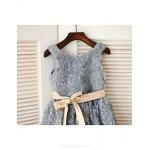 Flower Girl Dress Tea-length Organza A-line Sleeveless Dress Flower Girl Dresses
