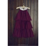 Flower Girl Dress Tea-length Chiffon/Sequined A-line Sleeveless Dress Flower Girl Dresses