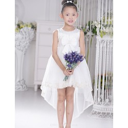 Flower Girl Dress Asymmetrical Lace/Satin/Tulle Ball Gown Sleeveless Dress