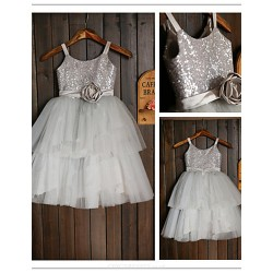 Flower Girl Dress Tea Length Tulle Sequined A Line Sleeveless Dress