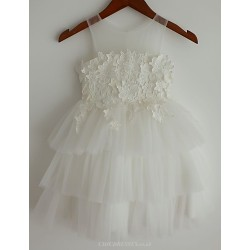 Princess Ivory Tiered Knee Length Flower Girl Dress Lace Tulle Sleeveless