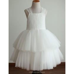 Princess Ivory Tiered Tea Length Flower Girl Dress Lace Tulle Sleeveless