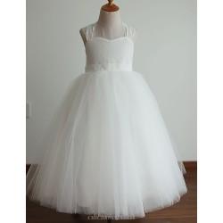 Princess Ivory Floor Length Flower Girl Dress Lace Tulle Sleeveless